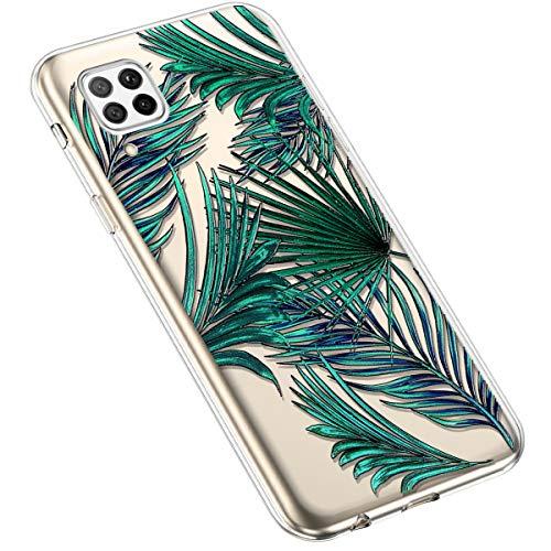 Uposao Kompatibel mit Huawei P40 Lite Hülle Silikon Schutzhülle Bunt Retro Muster Durchsichtig Case Klar Transparent TPU Tasche Handyhülle Anti-Kratzer Stoßfest,Dunkel Grün Blatt