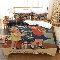 寝具セット3Dデザインパターンキングサイズ羽毛布団キルトカバー 200x200cm メリークリスマス マルチカラーベッドルーム装飾ベッドセットジッパークロージャーイージーケア