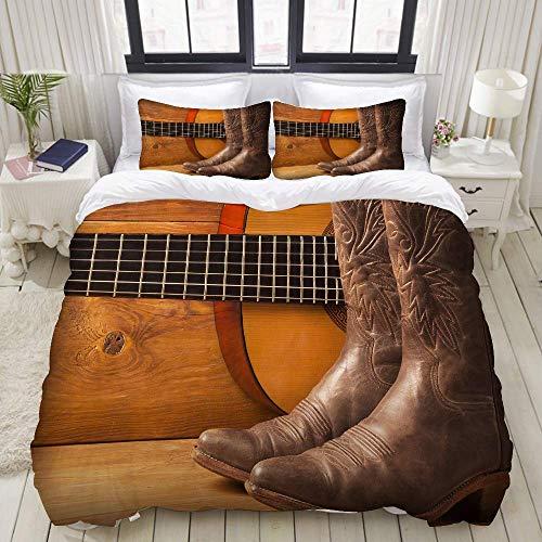 Funda nórdica, música Country Americana con Guitarra y Zapatos de Vaquero en Madera, Juego de Ropa de Cama Juegos de Funda de edredón de poliéster de Lujo Ultra cómodo y Ligero