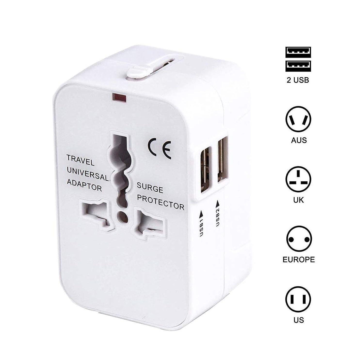 クルーズ外国人かみそり海外安全旅行充電器 コンパクトな コンセント 2USBポート変換プラグ 電源プラグ 旅行アダプター 壁の充電器 NONNBIRI (ホワイト)