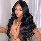 Long Black Wavy Wig for Women Body Wave Wig with Middle Part Natural Looking Wavy Synthetic Heat Resistant Wig for Daily Party Use 28 Inches