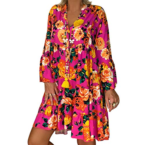 MRULIC Bluse Damen Lang Übergröße Frauen Langarm Tunika Schulterfrei Kleid Blumendruck Langarmshirt Unregelmäßiges Freizeitkleid Button Down Shirt MiniKleid Sommer Blusenkleid(C-Pink,EU-42/CN-XL)