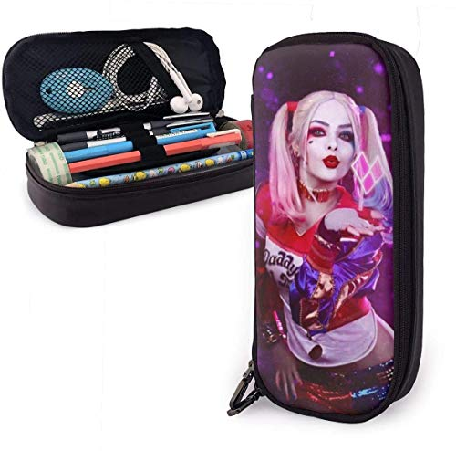 DFHSDD Mäppchen Pencil Case Multifunction Pen Bag Harley-Quinn-Kiss Leather Pencil Case Holder Office Buggy Pouch Zipper Pen Stationery Bags