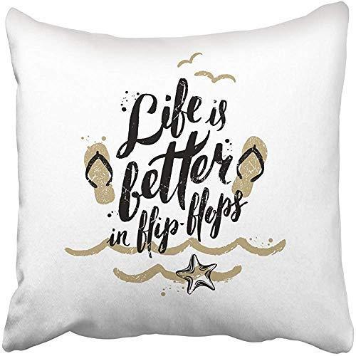 Fundas de almohadas de moda divertidas, cuadradas, para la playa, la vida es mejor en chanclas, vacaciones y vacaciones, caligrafía escrita a mano, citas de caligrafía, fundas de almohada, fundas de almohada para sofá, hogar, jardín, regalos decorativos
