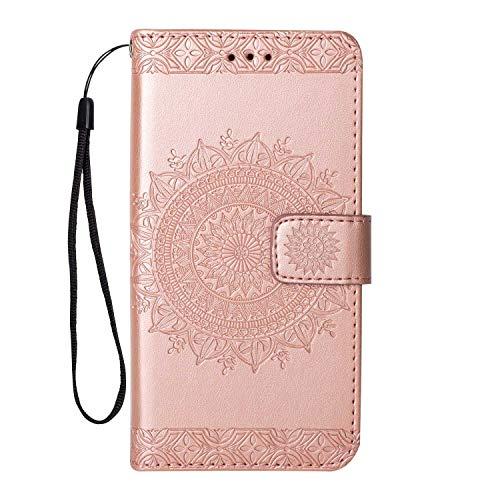 Coque Galaxy S7, SONWO Gaufrage Mandala Motif Housse Cuir PU Flip Portefeuille Etui avec Portable Dragonne et Carte de Crédit Slot pour Samsung Galaxy S7, Rose