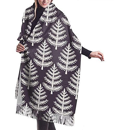 Elaine-Shop Handgezeichnete stilisierte Weihnachtsbaum Muster Schal Wrap Winter warme Schal Cape Cashmere Schal Wrap