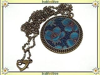 Collana resina Fiori blu turchese marrone ottone bronzo catena palla chiusura cuore 32mm regalo personalizzato noel amico ...