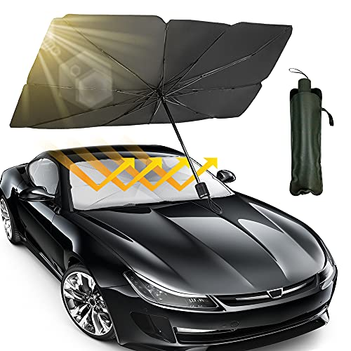 Geronmine Car Windshield Sun Shade Foldable Umbrella Car Sunshade Cover UV Rays Protector for Car Front Window Blocks Auto Windshields Covers, Fit Most Vehicle, 57'' x 31''