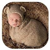 Handmade Cute Newborn Baby Photo Shoot Props Boy Girl Outfits Cute Sleeping Bag Photography Props(Khaki)