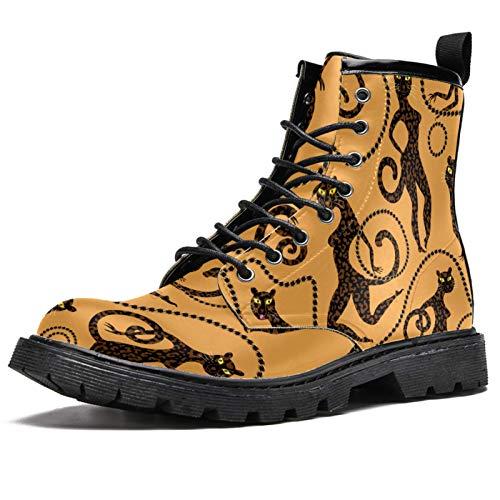 LORIES LEOPE Y Jaguar con joyas de oro cadenas anilladas pulsera cinturón botas altas para hombre, zapatos con cordones de piel informales, (multicolor), 44.5 EU