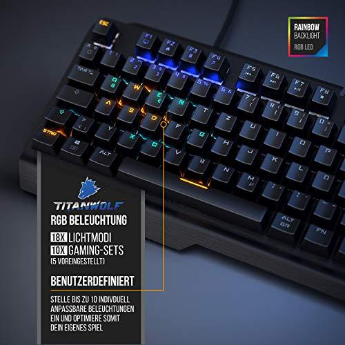 CSL-Computer Titanwolf - mechanische Tastatur Alumar - Mechanical Keyboard Gaming - Gaming-Tastatur - Anti-Ghosting - QWERTZ-Layout DE - volles Key Rollover - RGB LED-Hintergrundbeleuchtung
