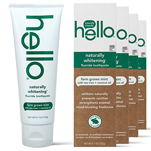 hello Naturally Whitening Toothpaste with Fluoride -Farm Grown with Tea Tree Oil & Coconut Oil (Vegan & SLS Free), Mint, 4 Pack, 18.8 Oz