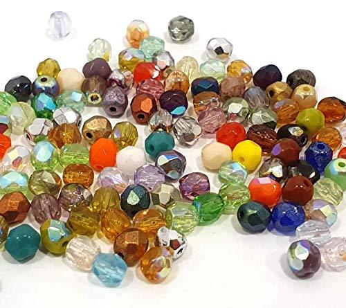 120X Preciosa Böhmische Kristallperlen 4mm Bunte Mix Set Kugeln Facettiert Tschechische Perlen Glasschliffperlen Glasperlen Druckperlen