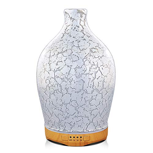 280ml Essential Oil Diffuser Glass Aromatherapy Ultrasonic Humidifier - Auto Shut-Off,Timer Setting, BPA Free for Home Hotel Yoga Leisure SPA Gift