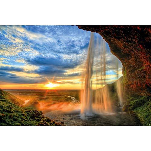 GREAT ART® Póster – Cascada de la Isla - Naturaleza Paisaje Relajación Romance Rocas Cascada Puesta de Sol Frente Horizonte Río Relax Decoración de Pared DIN A2 (42 x 59,4 cm)