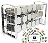 LEANDER DESIGN® Gewürzregal für Küchenschrank und Arbeitsfläche, 18 Gewürzgläser, Inkl 54...