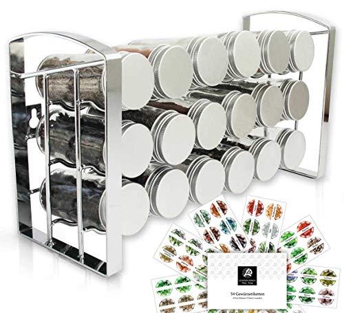 LEANDER DESIGN® Gewürzregal für Küchenschrank und Arbeitsfläche I Küchen-Organizer mit 18 Gewürzgläser I Kräuter-Regal Gewürzständer auf 3 Ebenen (leer)