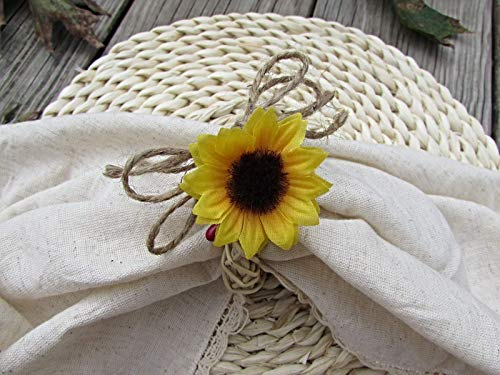 Fall Sunflower Burlap Napkin Ring Holders- Autumn Kitchen Decoration- Thanksgiving Table Decor (Set of 4, 6, 8, 10, 12)