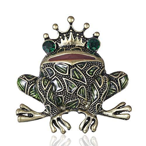 AILUOR Damen Neue Einzigartige Gemusterte Frosch Brosche, Vintage Gold-Tonrhinestone Emaille-Kronen-Kröte Insekt Tier-Revers-Stifte grün Einstellbar