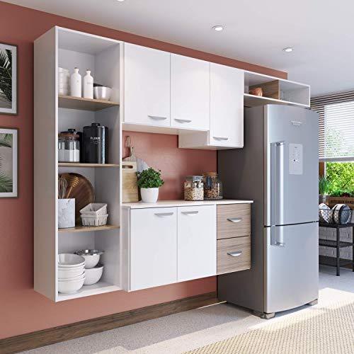 Cozinha Compacta 4 Peças 5 Portas Anabela Siena Móveis Branco/Nogueira