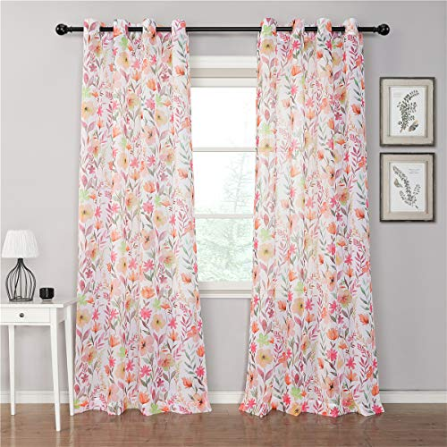 """MYSKY HOME Pink Floral Sheer Curtains 84 inches Long Blossom Printed Curtains for Living Room 2 Panel Sets Flower Curtains for Bedroom Girls with Grommets, 52"""" x 84"""""""