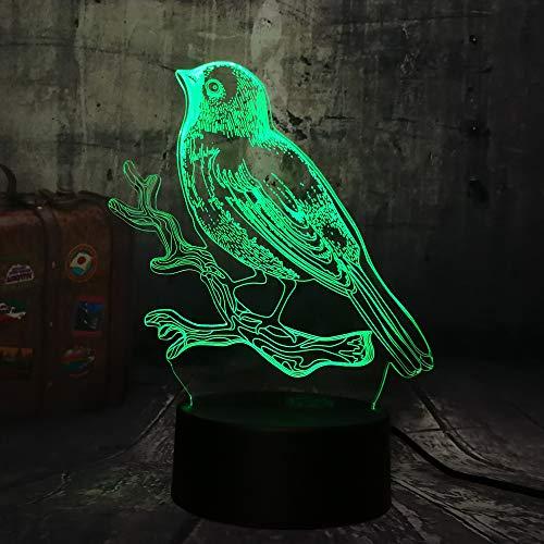 wangZJ 3d Sichtlampe Optische Täuschung Led Nachtlicht / 7 Farben Lampen/kinder Geschenk/home Schreibtischlampe /Elster Spatz