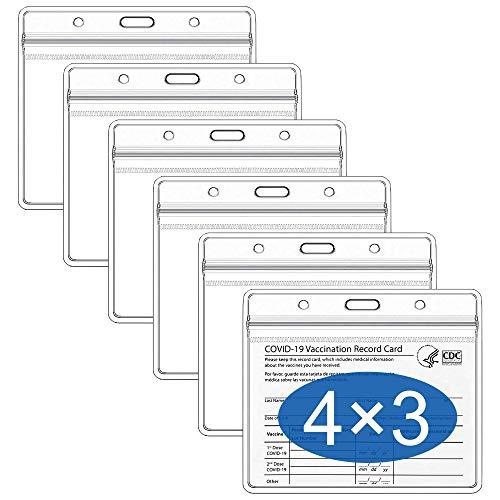 Migeec Paquete de 6 protectores para tarjetas de vacunación CDC de 4 x 3 pulgadas, soporte para tarjetas de vacunación, soporte para tarjetas de identificación y identificación...