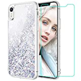 Maxdara Case for iPhone XR Glitter Case Tempered Glass Screen Protector Floating Liquid Bling Sparkle Luxury Pretty Fashion Girls Women Case XR 6.1 inches (Silver)