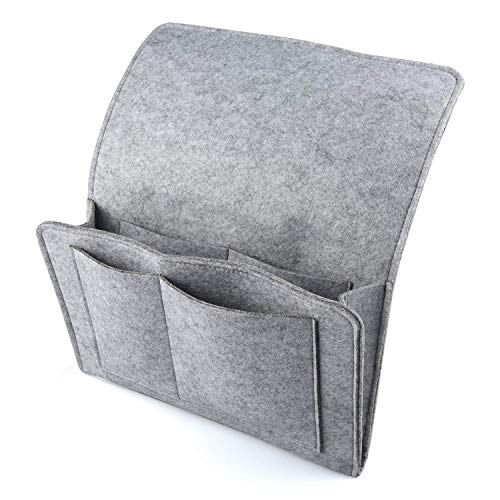 SIVENKE Filz-Organizer Caddy für Bett Sofa BettablageBetttasche für Handy Buch Fernbedienung Zeitungsständer für Schlafzimmer Schlafsaal 32 x 20cm Grau