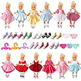 Alive Baby Doll Clothes - 19 Pcs Girl Doll Dress and Accessories Outfits for 12 13 14 15 16 Inch American Bitty Baby Girl Doll - 12 Doll Dress 3 Hangers 3 Doll Underwear 1 Shoes for Girls Xmas Gift