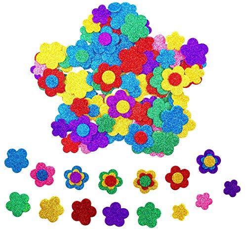 Hyamass 6 Packs (Approx 150pcs) Multicolor Self Adhesive Glitter Flower with Round Dot Flower Pistil Foam Stickers (Flower)