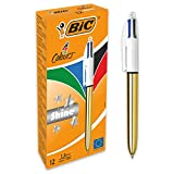 BIC 4 colores Shine - Caja de 12 unidades, bolígrafos punta media (1,0 mm), diseño metalizado, color dorado