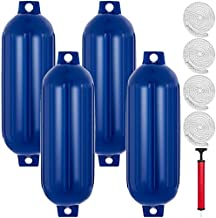 Mophorn Ribbed Twin Eyes Boat Fender Pack of 4 and Pump to Inflate (Blue,8.5 x 27 inches)