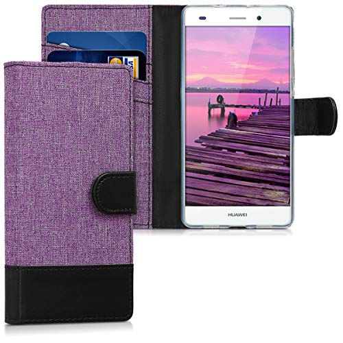 kwmobile Funda para Huawei P8 Lite (2015) - Carcasa de Tela y Cuero sintético - con Tapa y Tarjetero Violeta/Negro