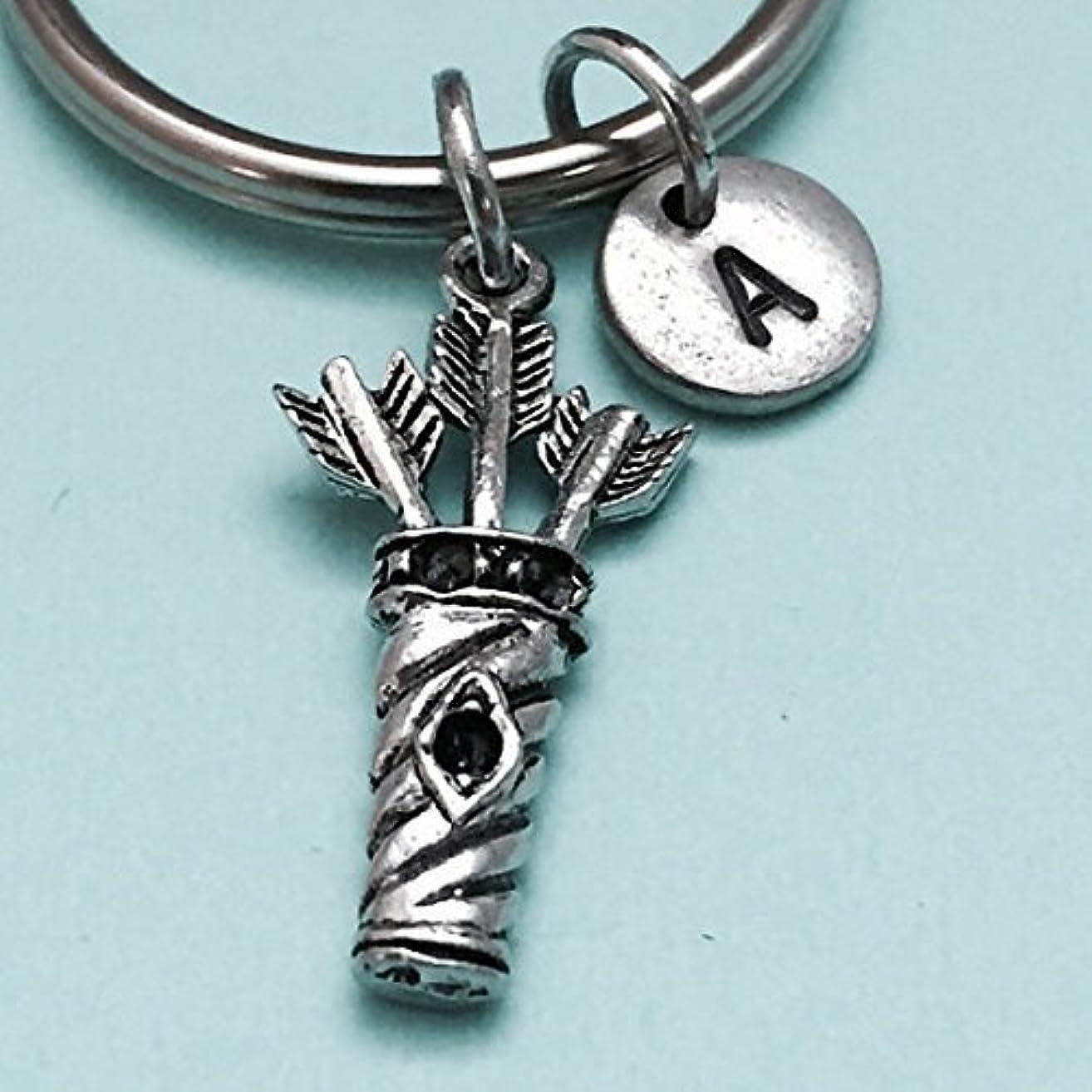 Arrow quiver keychain, arrow quiver charm, archery keychain, personalized keychain, initial keychain, initial charm, customized, monogram