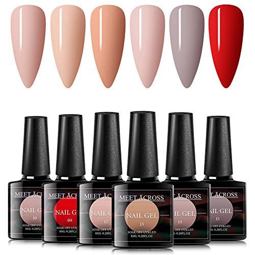 Gel Nail Polish Sets 6 Colors Nude Pink Nail Art Gift Box UV LED Soak Off Nail Gel Kit 8ml