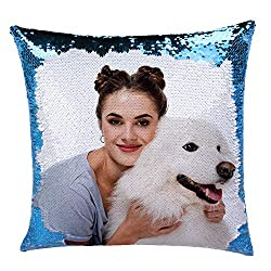 Blue Sequin Personalized Pillow Cover with Your Photos