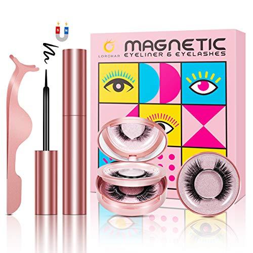 Pestañas Magneticas con Delineador Naturales, 3D Pestañas Postizas Naturales Reutilizables e Impermeables, Pestañas Magneticas Con Espejo y Pinzas, No Requiere Pegamento (3 Pares)
