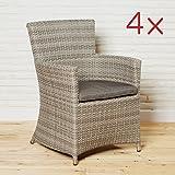 Armlehnstühle Gartenstühle Ibiza Sessel für die Terrasse oder Garten - Gartensessel Stuhl Gartenmöbel Set 4 Stück in braun mit Kissenauflage