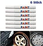 WEIß / WEISS 6x Stück Reifen Stift Reifenmarker Auto, Motorrad, Fahrradreifen Reifenmarkierungsstift Reifenstift Marker Stift Beschriftung wasserfest wetterfest 101934 - sarachen - INION