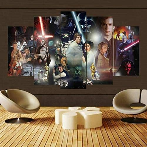 SDFFD Prints On Canvas 5 Piece Canvas Wall Art 5 Panels Canvas Print Frame Star Wars Character Collage Picture Painting for Room Home Decorations Ready to Hang W60Xh32