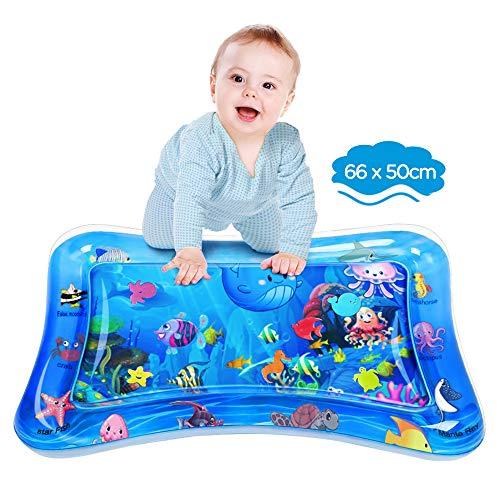 Dusor Wassermatte Baby, Wasserspielmatte BPA-frei, Baby Spielzeug 3 6 9 Monate, Aufblasbare Bauchzeit Matte, Spaßaktivitäten Das Stimulationswachstum Ihres Babys (65 x 50 cm)