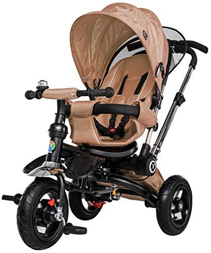 Miweba Kinderdreirad Schieber 7 in 1 Kinderwagen - Freilauf - Faltbar - Luftreifen - Heckfederung - Laufrad - Dreirad - Schubstange - Ab 1 Jahr (Sand Beige)
