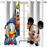 DJOIEPO Mickey Mouse Pato Donald Cortinas Opacas termicas 2 Piezas 117x228 cm,Cortinas Opacas Estampadas,Térmicas Aislantes,Suave Cortina Opacas con Ojales para niño niña Dormitorio,Disney