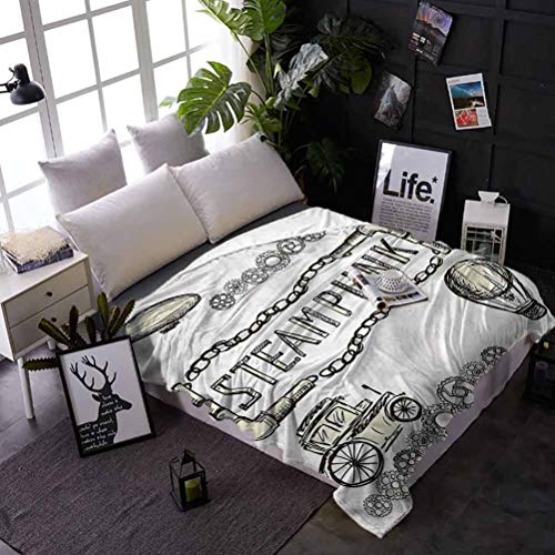 shirlyhome Bed Blanket Sketchy Air Conditioner Blanket Sketch Old Car Balloon Best Gift for Women, Men, Kid, Teen 60x80 Inch