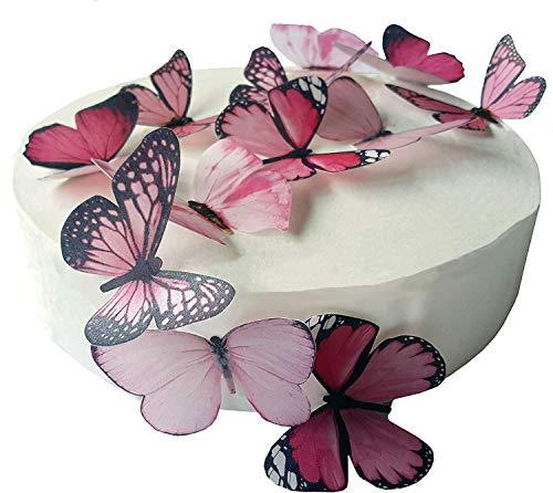 12 x vorgeschnittene, schöne rosa große Schmetterlinge, essbares Oblatenpapier, Kuchen- und Cupcake-Dekoration, (L)