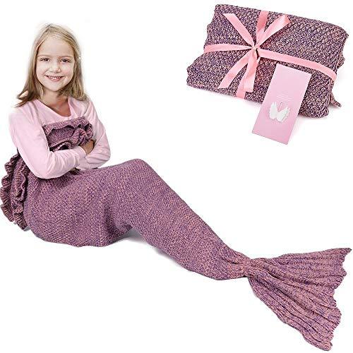 RUVALINO Meerjungfrau-Schwanz-Decke für Geburtstags-Geschenke, Süße Träume für Mädchen 3-12 Jährige, alle Jahreszeit-Schlafsack für Kinder 140 * 70 cm (Rosa)