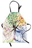 Ambesonne Tree Apron, Watercolor Style Tree with Colorful Blooming Branches 4 Seasons Theme, Unisex Kitchen Bib with Adjustable Neck for Cooking Gardening, Adult Size, Multicolor