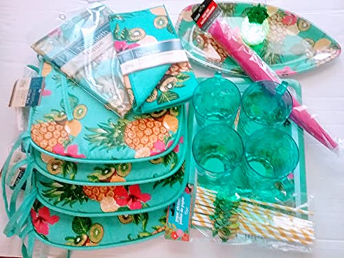 JF- Pineapple-Hibiscus Theme 4pc Chair Pad, Oval Tablecover, Dish Drying Mat, 4pc Plastic Mug, 10pc Paper Straws with 2-Serving Trays, Food Tent & Mini LED Pineapple Shaped Changing Light Lamp -  Jusfabulouz_