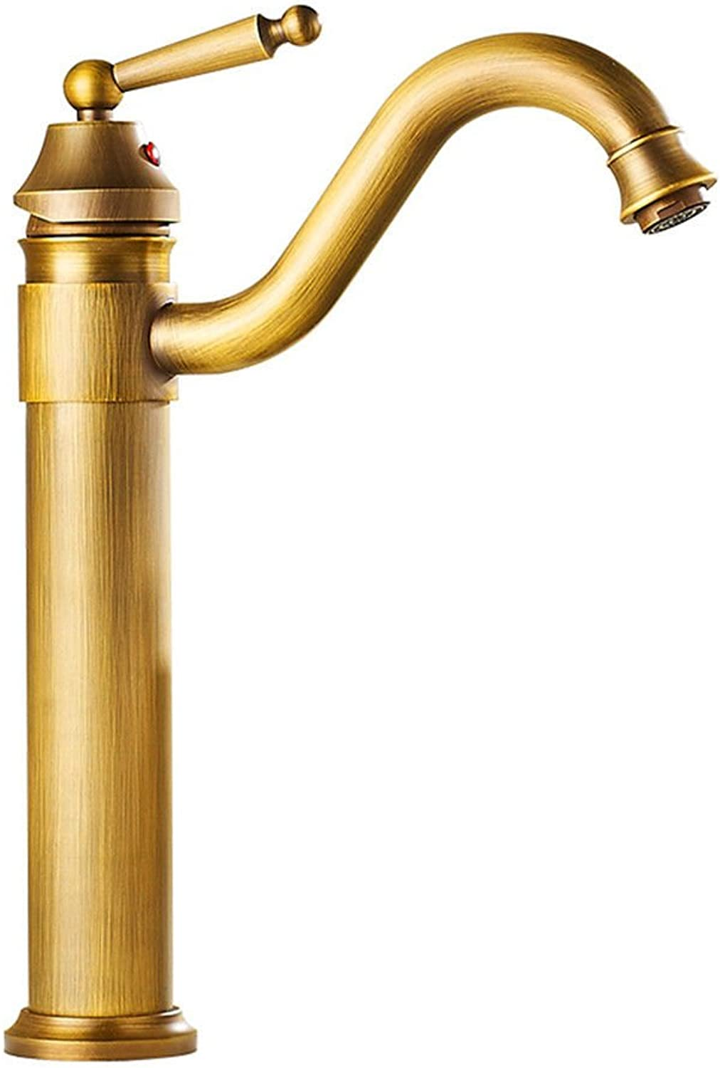 Single-Handle Kitchen Mixer Sink Tap Kitchen Faucet Basin faucet copper antique hot and cold faucet heightening single hole above counter basin faucet retro faucet with UK Standard Fittings